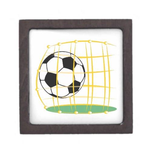 Fútbol y red cajas de joyas de calidad
