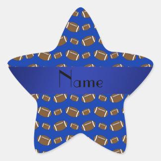 Fútboles azules conocidos personalizados pegatina en forma de estrella