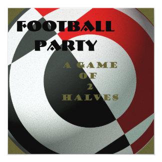 """Fútboles negros y rojos invitación 5.25"""" x 5.25"""""""