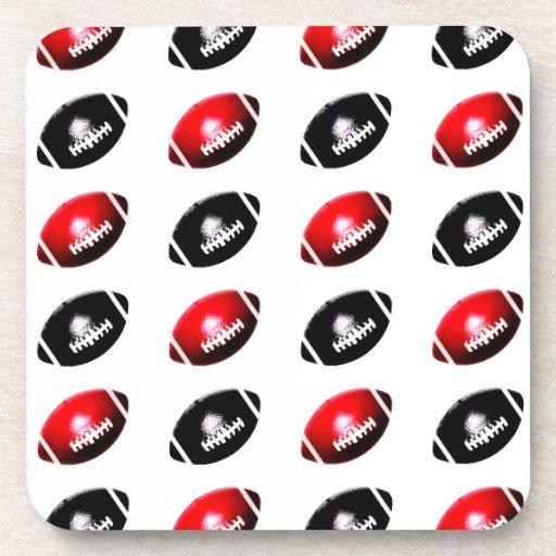 Fútboles negros y rojos posavasos