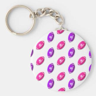 Fútboles rosados y púrpuras llavero redondo tipo pin