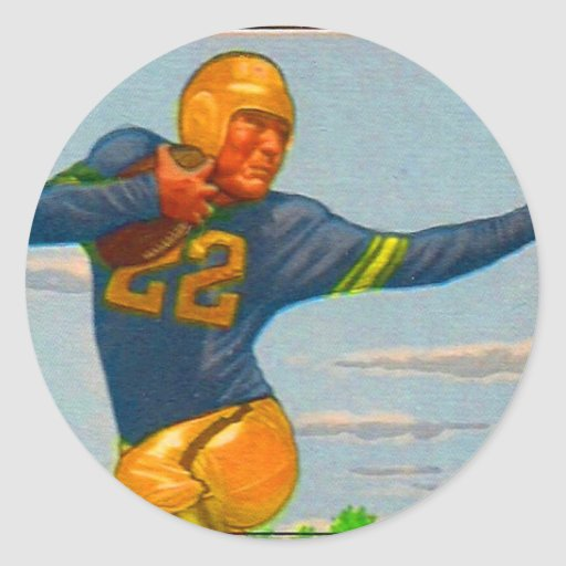 Futbolista del vintage 40s del kitsch 'Arm tieso Etiquetas Redondas