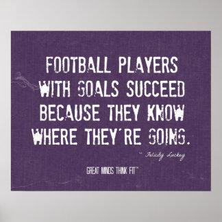 Futbolistas con el poster de las metas