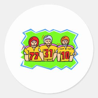 Futbolistas del dibujo animado etiquetas redondas