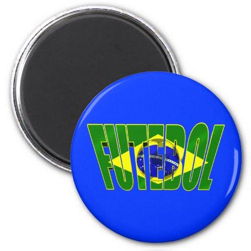 Futebol 3D Brazil flag drop shadow logo 2 Inch Round Magnet