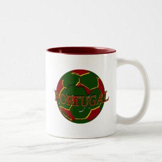 Futebol Português - Bola nos Cores Portugueses Two-Tone Coffee Mug