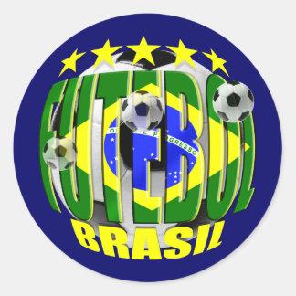 Futebol round brazil soccer ball 5 star gifts classic round sticker