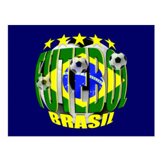 Futebol round brazil soccer ball 5 star gifts postcard
