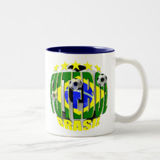 Futebol round brazil soccer ball 5 star gifts Two-Tone coffee mug
