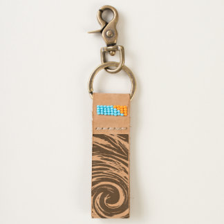 Future Abstract - Leather Keychain