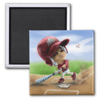 Future All-Star Baseball Red 2 Inch Square Magnet