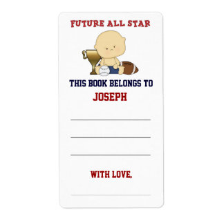 Future All Star Boy Baby Shower Bookplate