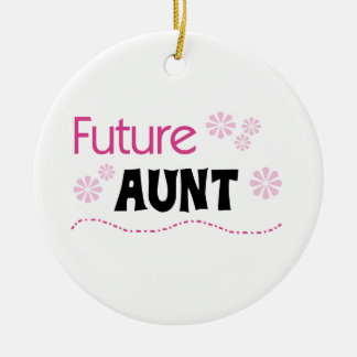 Future Aunt Black and Pink T-shirts and Gifts Ceramic Ornament