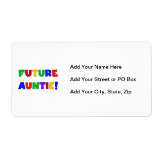 Future Auntie Primary Colors T-shirts and Gifts Label