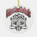 Future Auto Mechanic Skull Design Double-Sided Ceramic Round Christmas Ornament