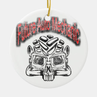 Future Auto Mechanic Skull Design Double-Sided Ceramic Round Christmas Ornament