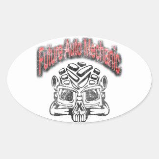 Future Auto Mechanic Skull Design Oval Sticker