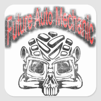 Future Auto Mechanic Skull Design Square Sticker