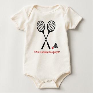 Future badminton player, racquet & shuttlecock baby bodysuit
