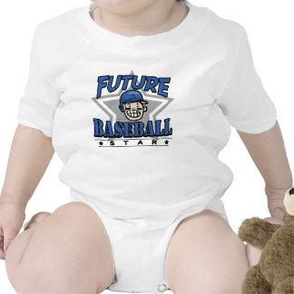 Future Baseball Star Blue Helmet Baby Bodysuits