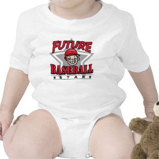 Future Baseball Star Red Helmet Baby Creeper