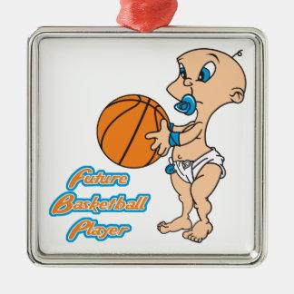 future basketball player baby boy metal ornament