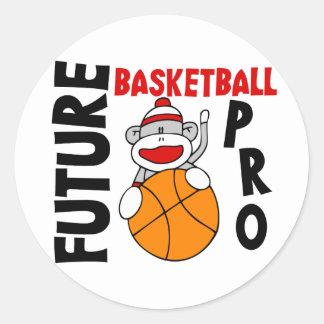 Future Basketball Pro Sock Monkey Classic Round Sticker