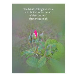 """Future belongs to"" inspirational rosebud postcard"