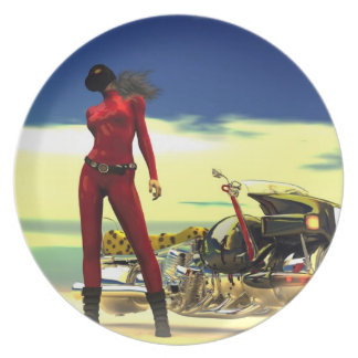 Future Biker Babe Melamine Plate