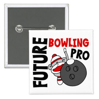 Future Bowling Pro Sock Monkey Pinback Button