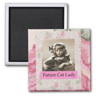 Future Cat Lady  Little Girl Funny Magnet
