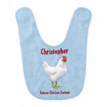 Future Chicken Farmer White Hen Baby Bib