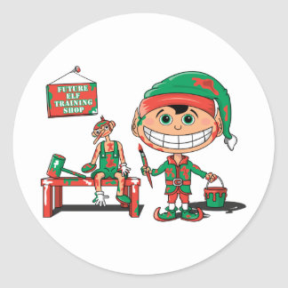 Future Christma Elf In Training Classic Round Sticker