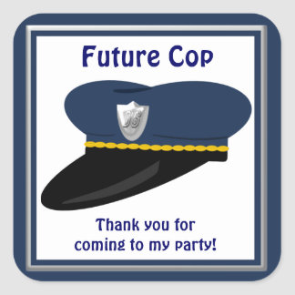 Future Cop Police Hat Party Favors Square Sticker