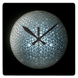 Future Core Silver Square Wall Clock