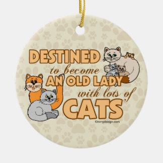 Future Crazy Cat Lady Funny Saying Design Ceramic Ornament