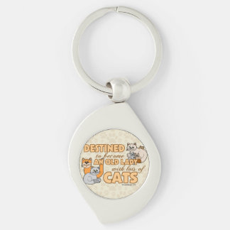 Future Crazy Cat Lady Funny Saying Design Keychain