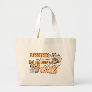 Future Crazy Cat Lady Funny Saying Design Large Tote Bag