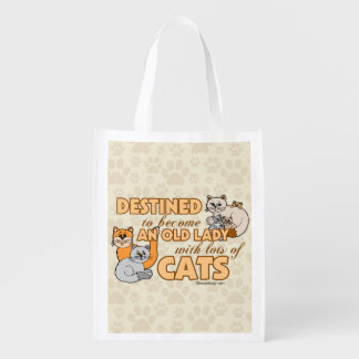 Future Crazy Cat Lady Funny Saying Design Reusable Grocery Bag