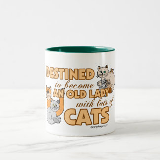 Future Crazy Cat Lady Funny Saying Design Two-Tone Coffee Mug