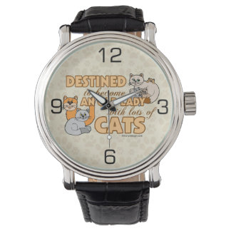 Future Crazy Cat Lady Funny Saying Design Wrist Watch