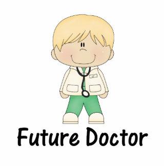 future doctor (boy) standing photo sculpture