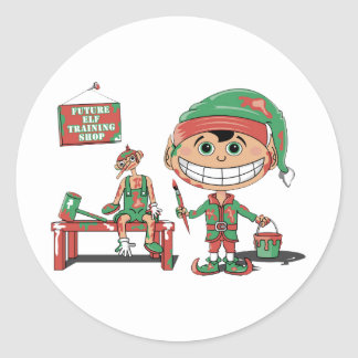 Future Elf Training Shop Classic Round Sticker