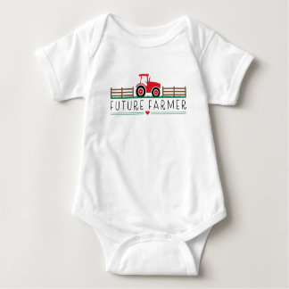Future Farmer with Red Tractor and Barn Baby Bodysuit