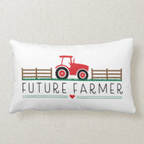 Future Farmer with Red Tractor and Barn Lumbar Pillow