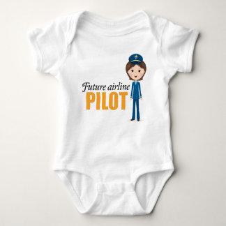 Future female airlane pilot cartoon girl baby baby bodysuit