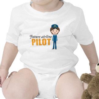 Future female airlane pilot cartoon girl baby t shirt
