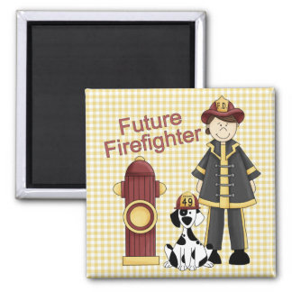Future Fighterfighter Girl 2 Inch Square Magnet