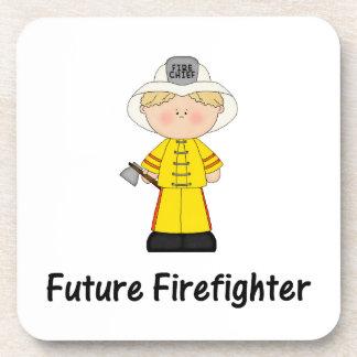 future firefighter (boy) beverage coaster