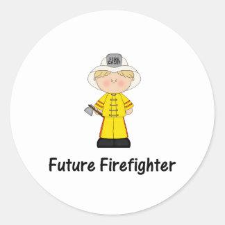 future firefighter (boy) classic round sticker